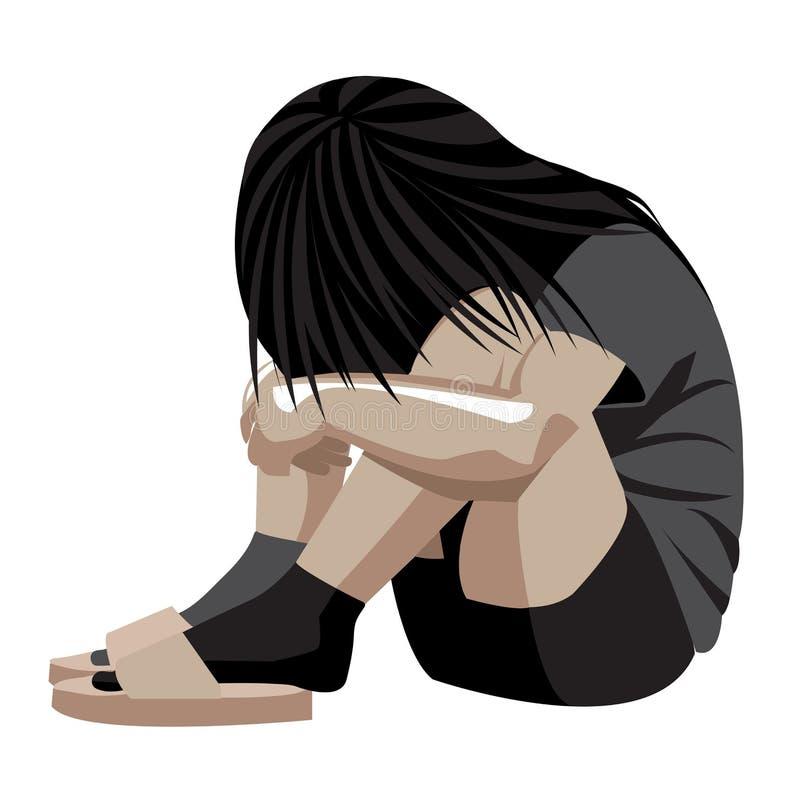 Violência doméstica, criança, depressão, abuso, batida, menina, criança, violência contra mulheres ilustração do vetor