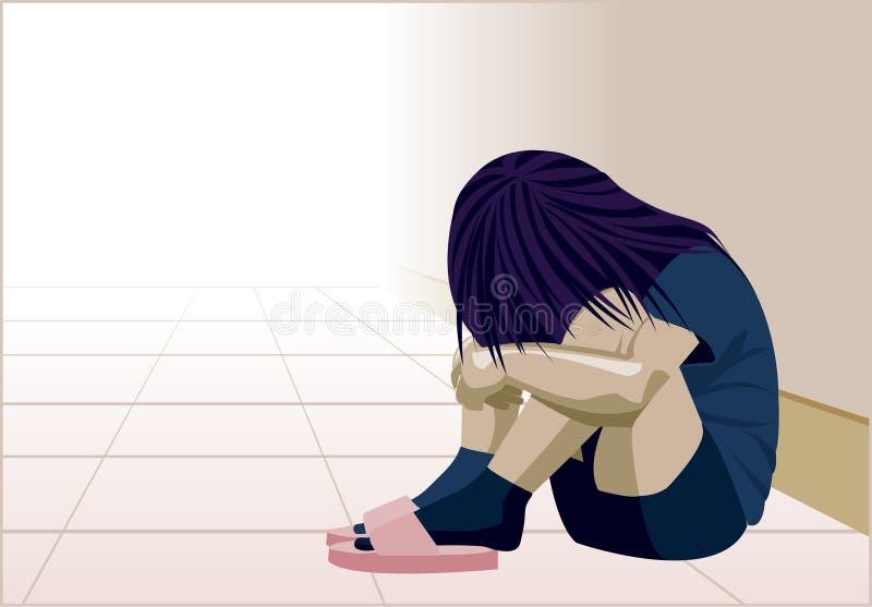 Violência doméstica, criança, depressão, abuso, batida, menina, criança, violência contra mulheres ilustração royalty free