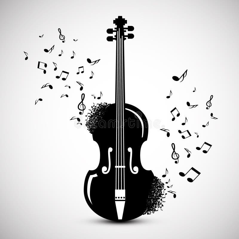 Violín con las notas Fondo de la música ilustración del vector