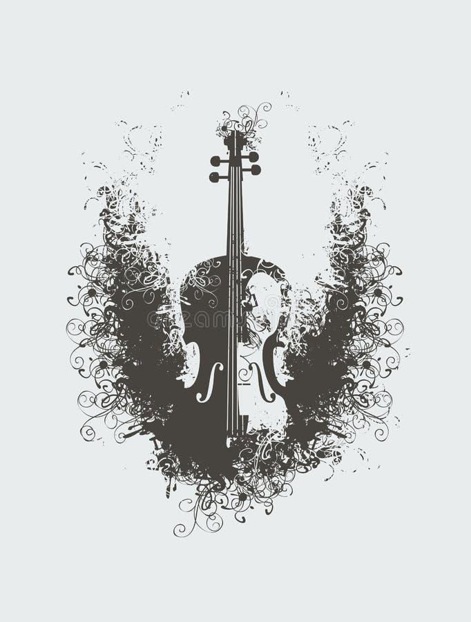 Violín con los estampados de flores ilustración del vector