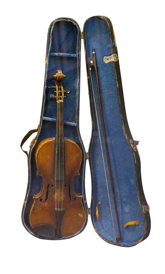 Viol?n del vintage aislado en el fondo blanco viol?n viejo en un caso imágenes de archivo libres de regalías