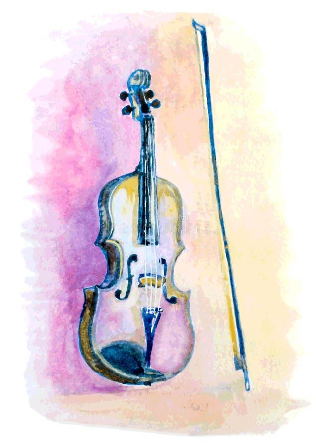 Violín dibujado mano de la acuarela y un arco stock de ilustración