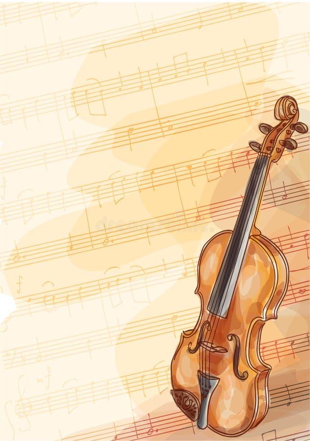 Violín en fondo de la música con las notas hechas a mano. stock de ilustración