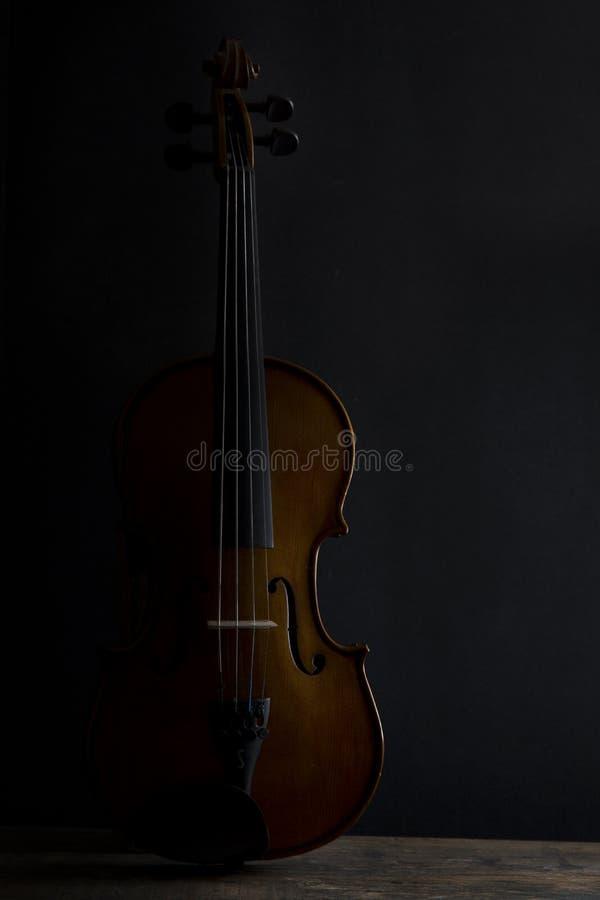 Violín oscuro en la posición vertical con la iluminación lateral imagen de archivo libre de regalías