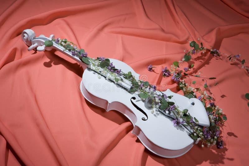 Violín y flores fotos de archivo libres de regalías