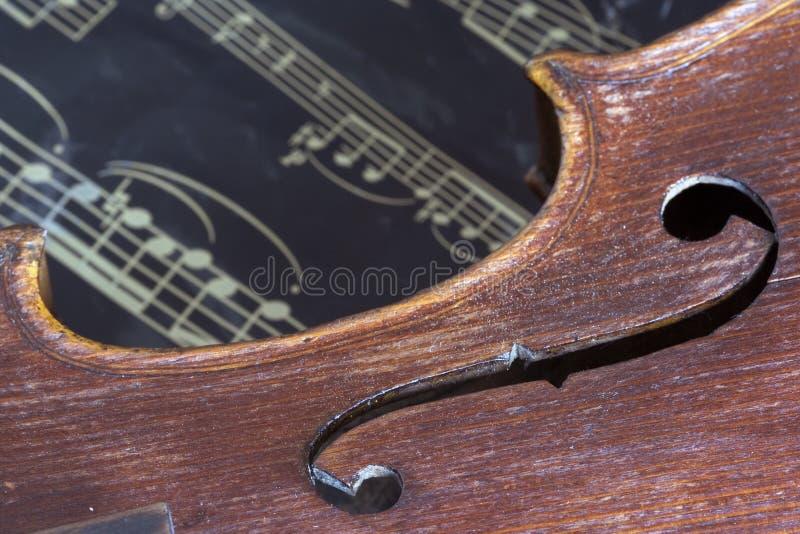 Violín y hoja de música fotografía de archivo