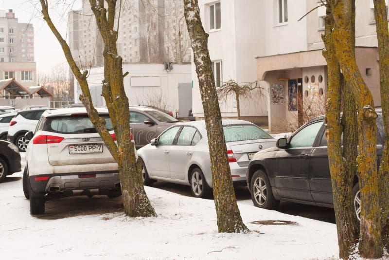 Violação do estacionamento uma cidade grande imagens de stock royalty free