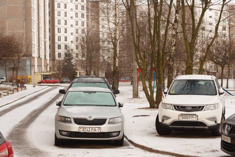 Violação do estacionamento uma cidade grande fotografia de stock