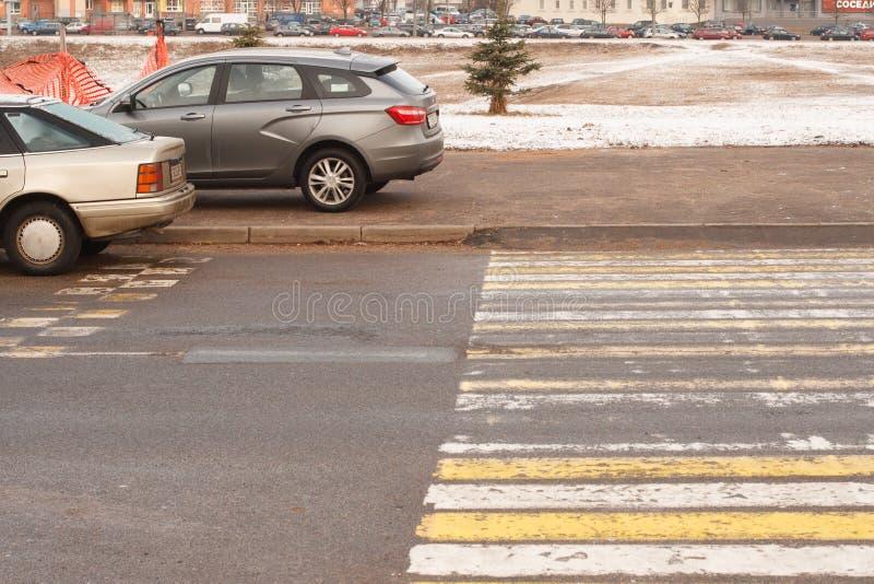 Violação do estacionamento uma cidade grande imagem de stock royalty free