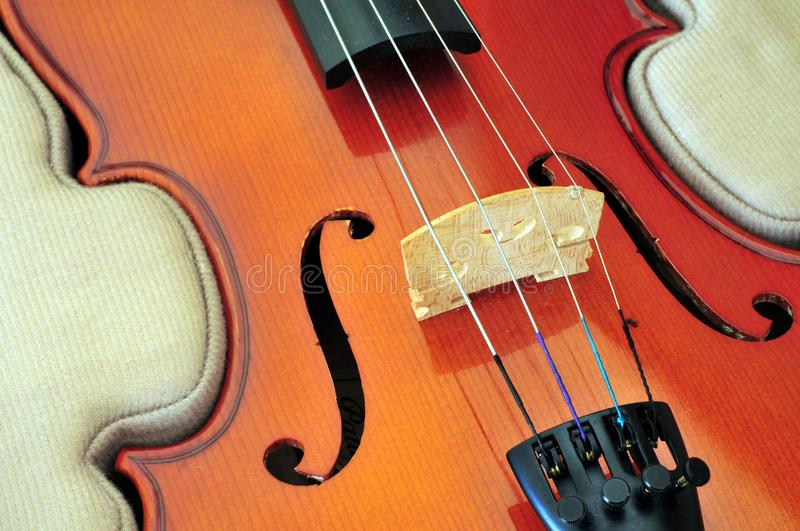 Viola in case. Viola in its case showing f-holes, bridge, fingerboard and tailpiece with fine tuners royalty free stock photo