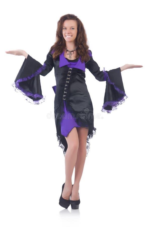 Viola d'uso della ragazza e vestito nero isolati sopra fotografie stock