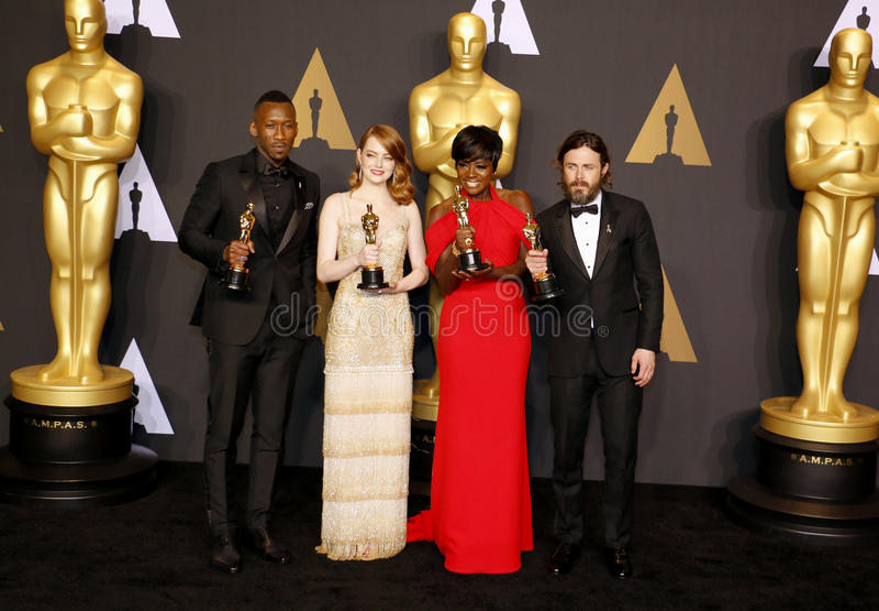 Viola Davis, Casey Affleck, Al de Mahershala, Emma Stone photographie stock libre de droits