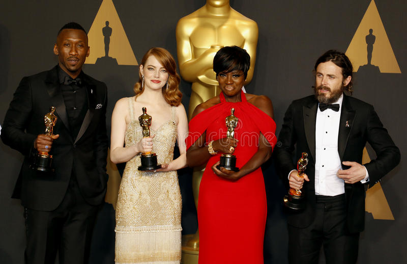 Viola Davis, Casey Affleck, Mahershala Ali e Emma Stone imagem de stock royalty free