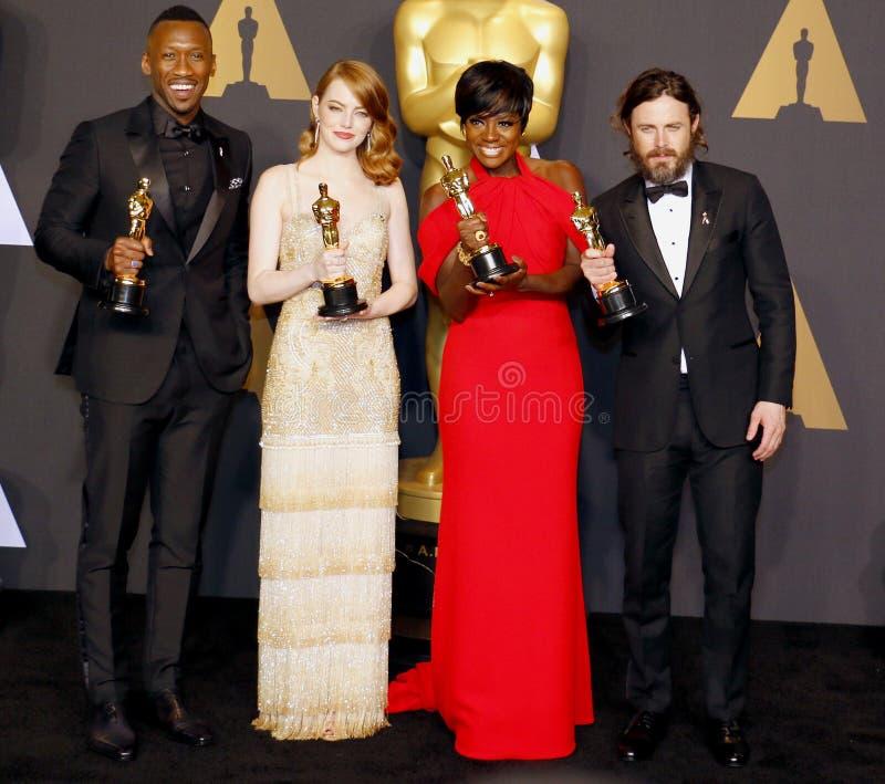 Viola Davis, Casey Affleck, Mahershala Ali e Emma Stone immagini stock libere da diritti