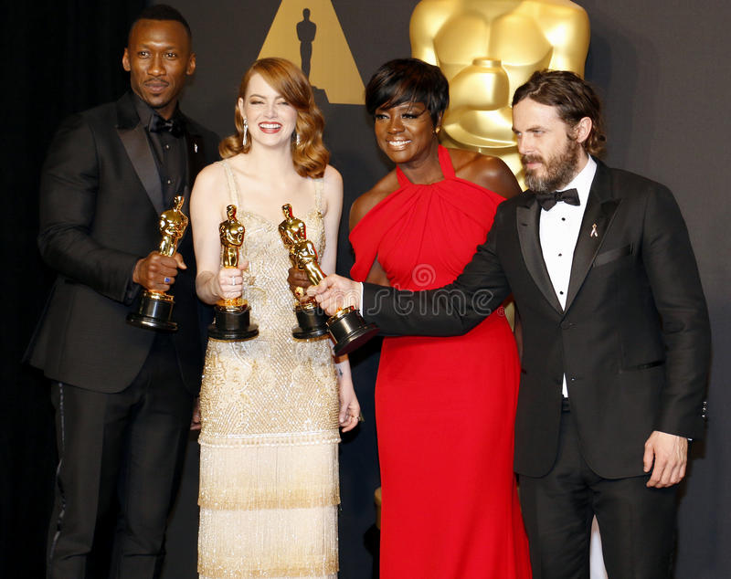 Viola Davis, Casey Affleck, Mahershala Ali and Emma Stone. At the 89th Annual Academy Awards - Press Room held at the Hollywood and Highland Center in Hollywood stock photo