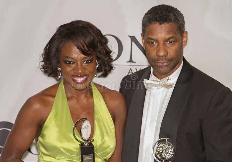 Viola Davis et Denzel Washington Big Winners chez soixante-quatrième Tonys en 2010 image libre de droits