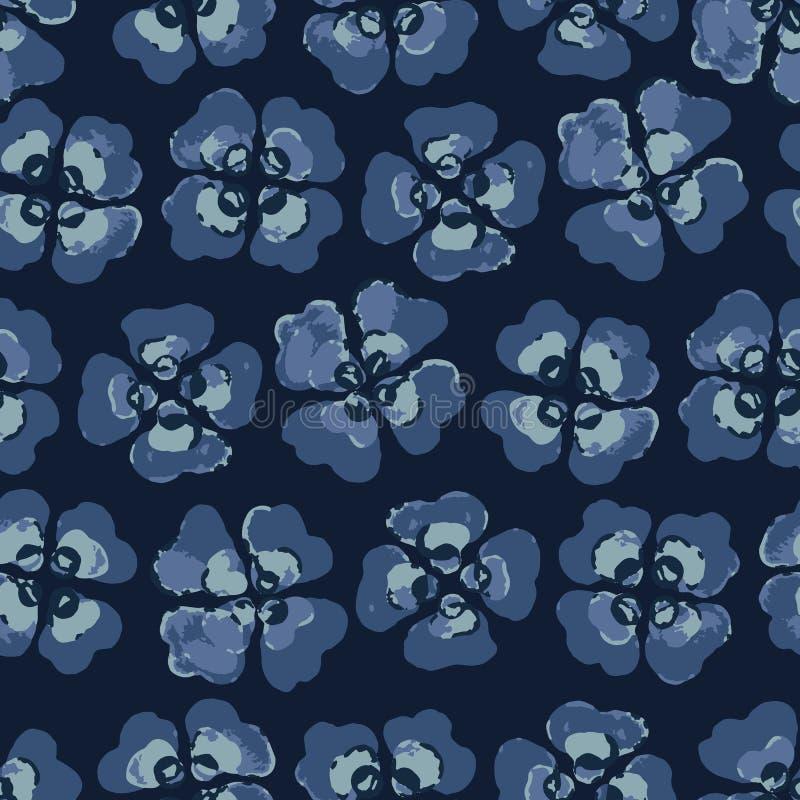 Viola Pansy Floral Seamless Vector Pattern Vattenfärgblomma Boho vektor illustrationer