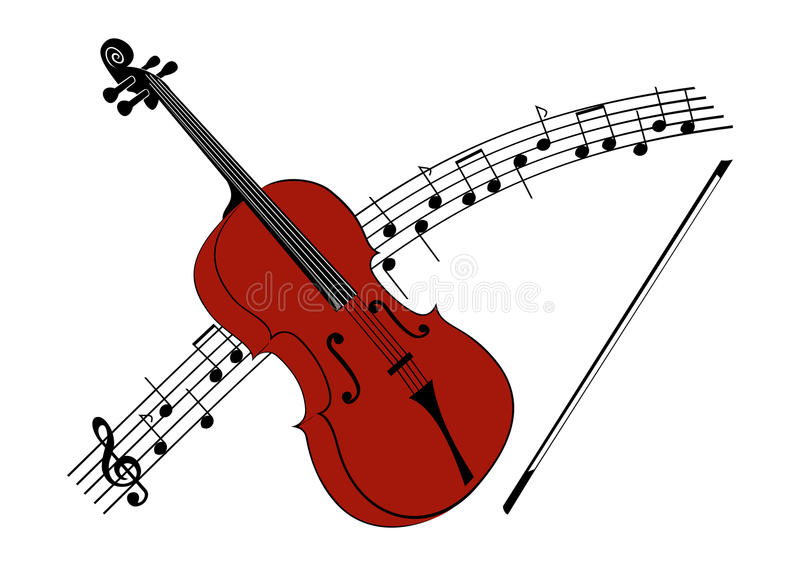 Viola or a violin with a string. A viola or a violin with a string, in the background with a notation vector illustration