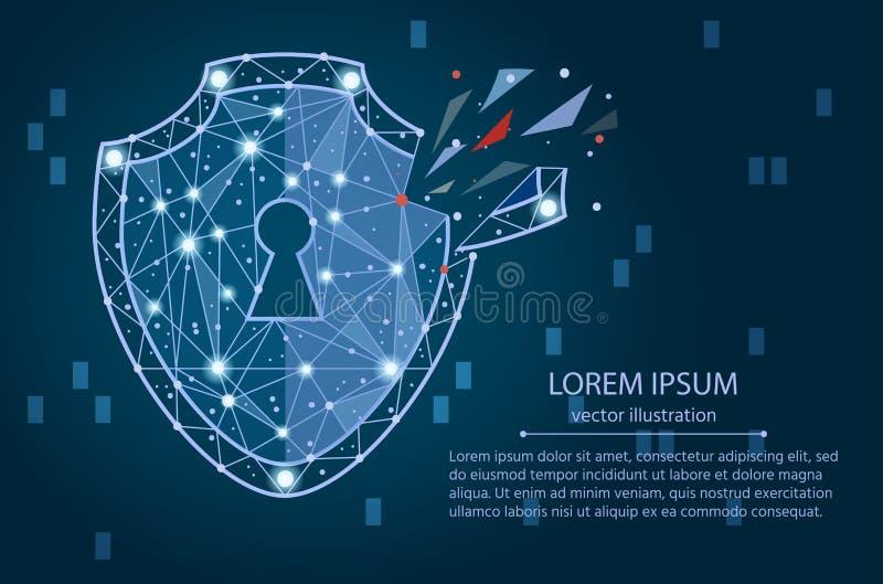 Violación de seguridad - concepto de Infographical Diseño gráfico en el tema de la tecnología de la Cibernético-seguridad stock de ilustración