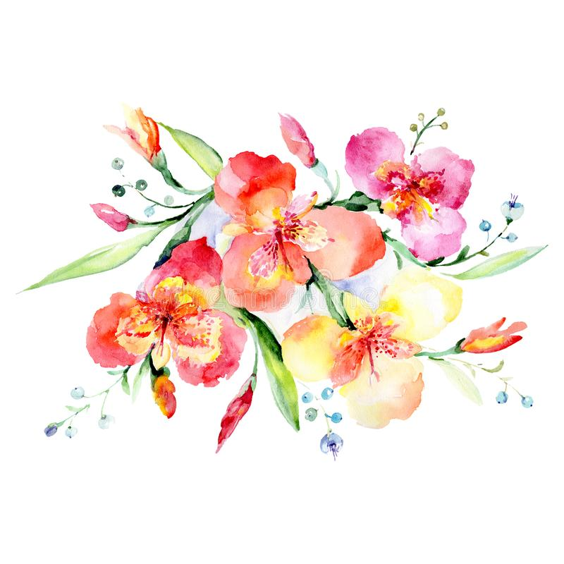 Violas bouquet floral botanical flowers. Watercolor background illustration set. Isolated bouquets illustration element. Violas bouquet floral botanical flowers stock illustration