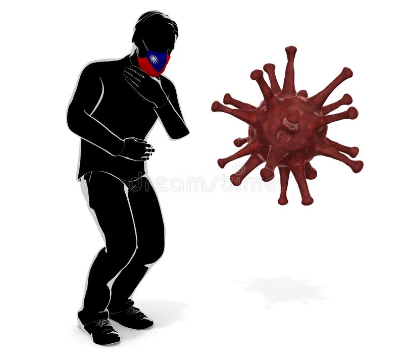 3D illustration. A person wearing an Taiwan flag mask. Get sick. Symptoms worsen. vector illustration