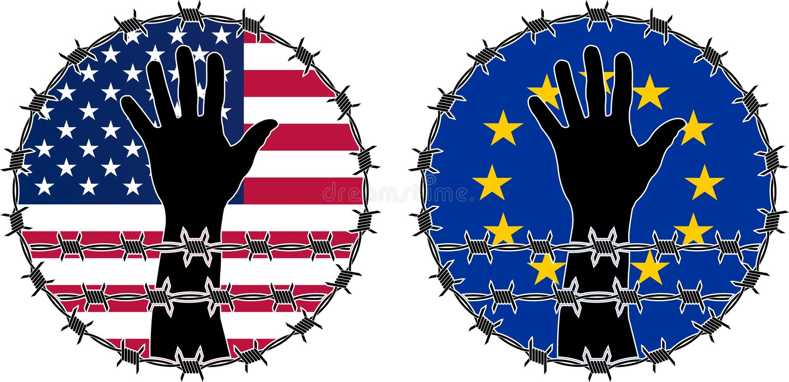 Download Violation Of Human Rights In USA And EU Stock Vector - Image: 30935988