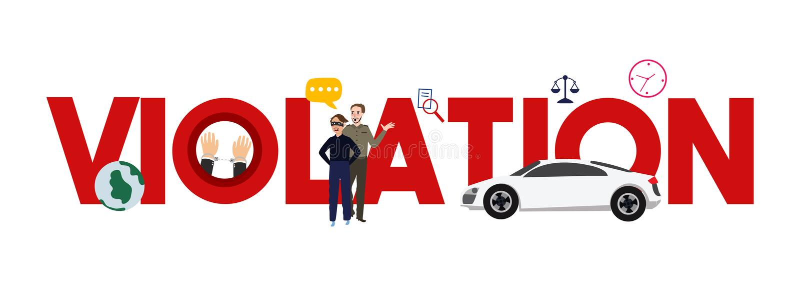 Violation illegal theft crime legal case. traffic car verdict. stock illustration