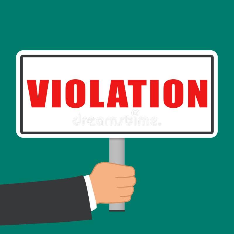 Violation word sign flat concept vector illustration