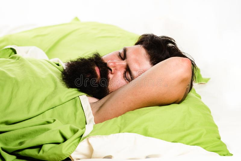Violations of sleep and wakefulness. Young man sleeping on soft pillows in bed at home. Man bearded hipster having. Problems with sleep royalty free stock images