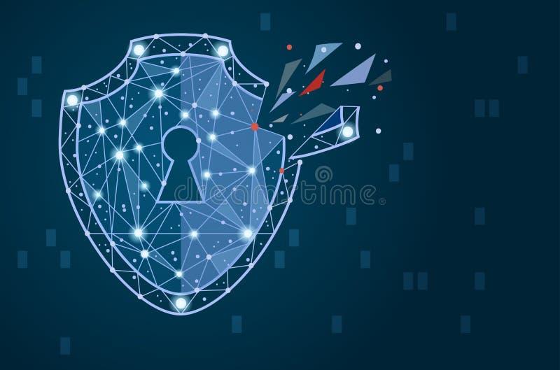 Violazione della sicurezza - concetto di Infographical Progettazione grafica sul tema di tecnologia di Cyber-sicurezza immagine stock
