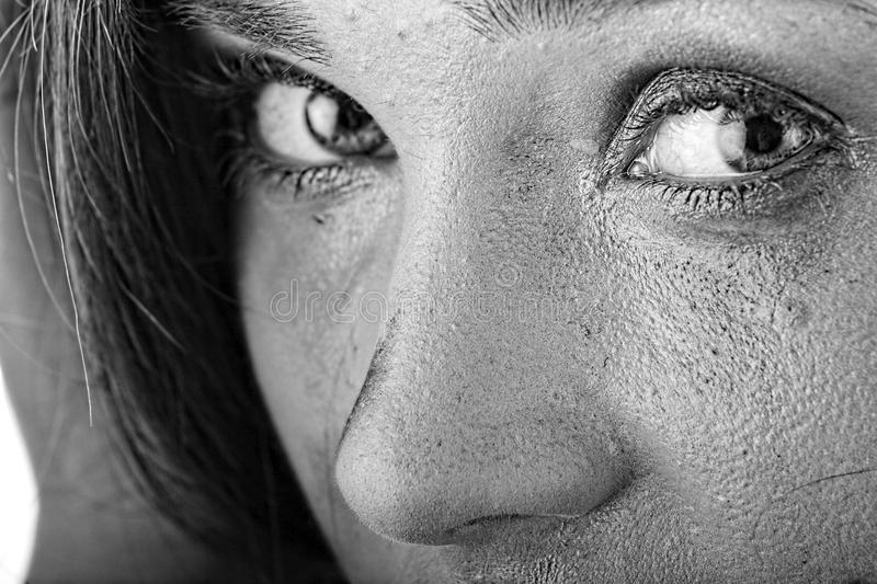 Violence. Emotional black & white portrait of abused, crying, beautiful, young , caucasian woman in underwear - home violence concept stock images