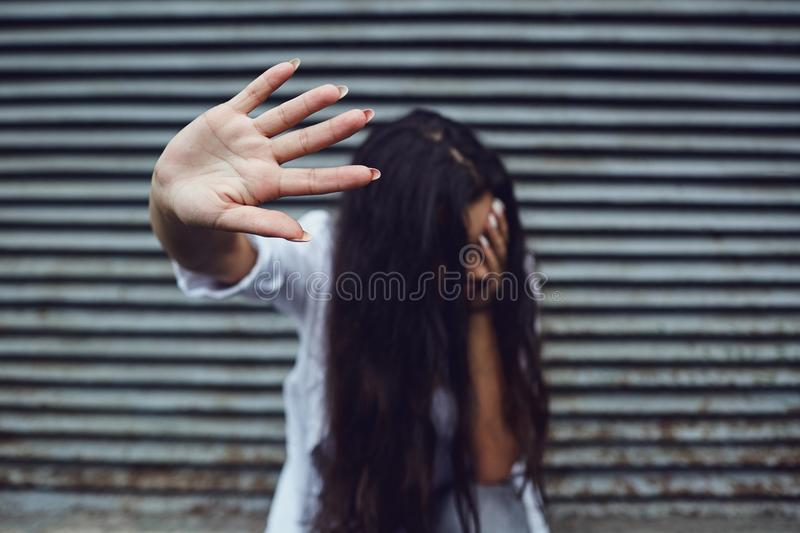 Violence against women. Concept. stock photography