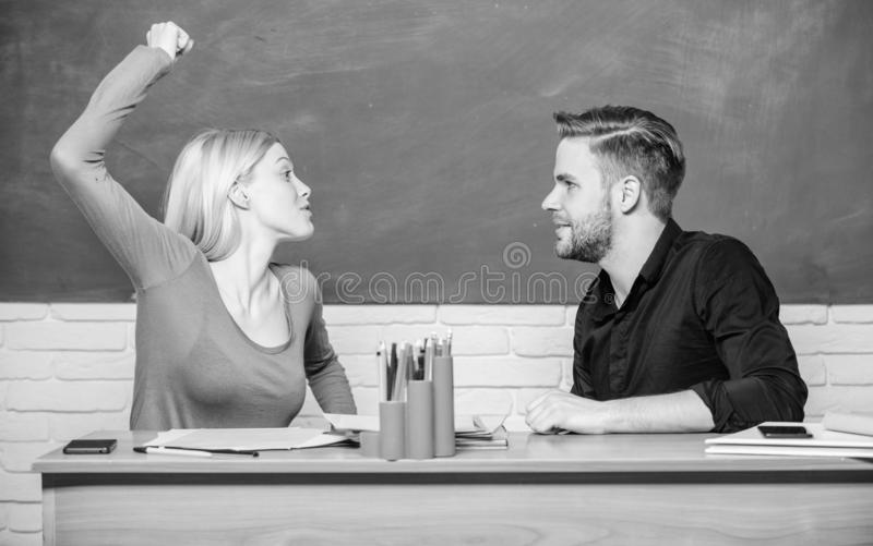 Violence and bullying. Communication between group mates. Friendship and relations. Compromise solution. College. Relations. Relations classmates. Students stock photo