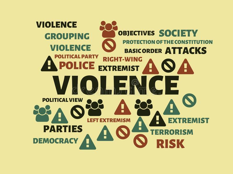 VIOLENCE - CALM - image with words associated with the topic EXTREMISM, word, image, illustration. VIOLENCE - CALM - image with words associated with the topic stock illustration