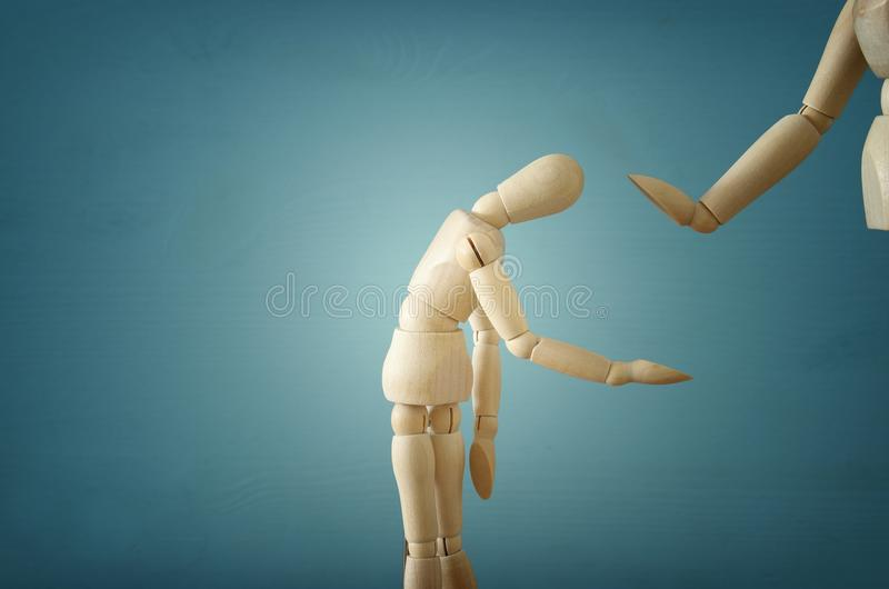 violence cincept. sad wooden dummy. royalty free stock images