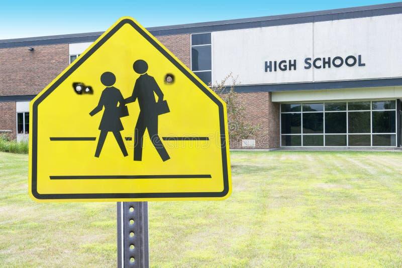 Violence de lycée, tir, arme à feu image stock