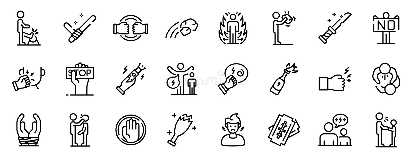 Violence icons set, outline style. Violence icons set. Outline set of violence vector icons for web design isolated on white background stock illustration