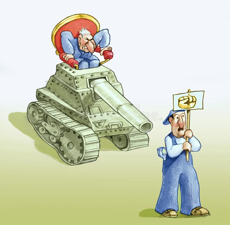 Violence of the weak power. Worker with poster of stretched out  is surprised to the shoulders by a political that drives a tank to repress his protest royalty free illustration