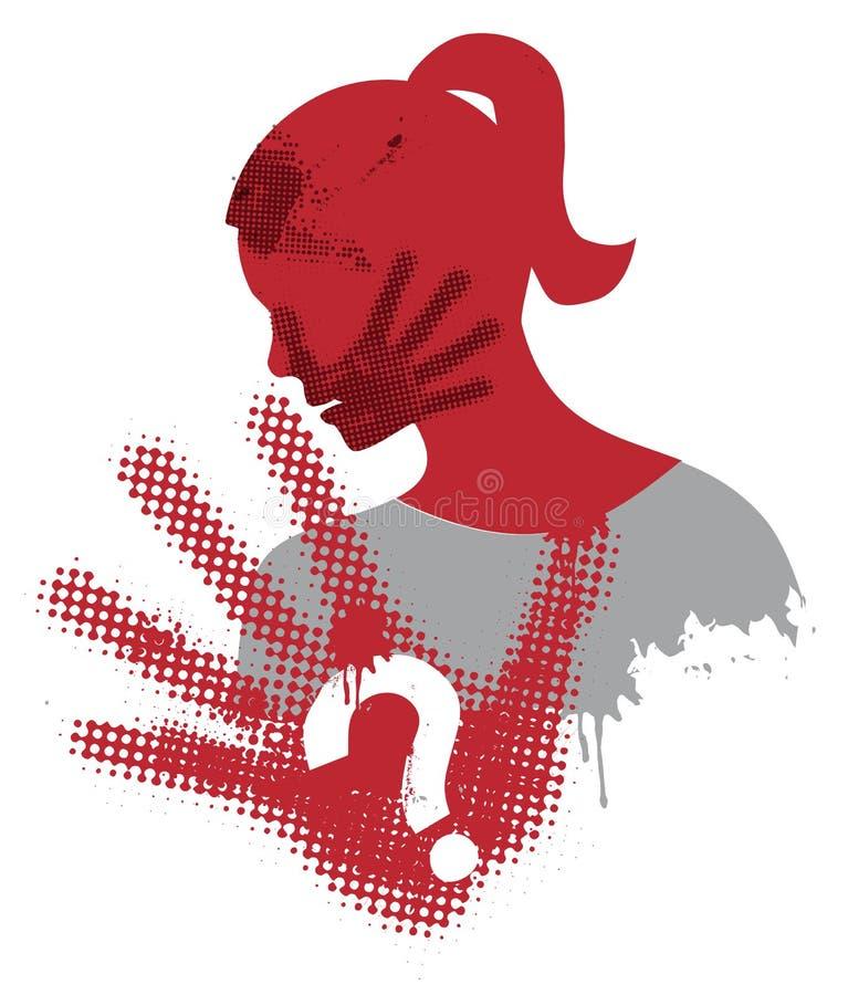 Violencia contra mujer ilustración del vector