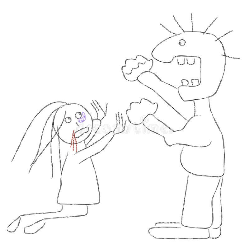 Violencia de familia ilustración del vector