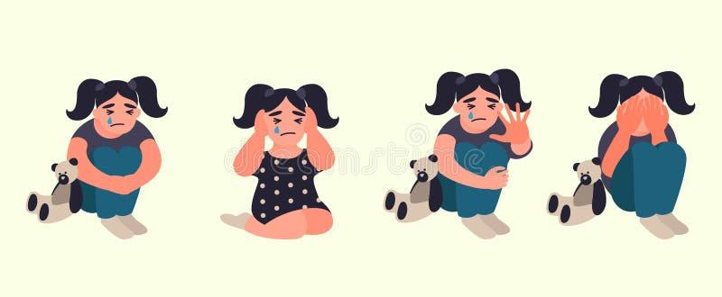 Violencia de la parada y niños abusados stock de ilustración