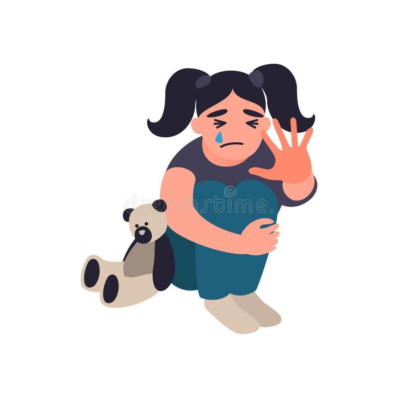 Violencia de la parada y niños abusados La niña se está sentando en el piso y el griterío Concepto infeliz de la niñez Niños ilustración del vector