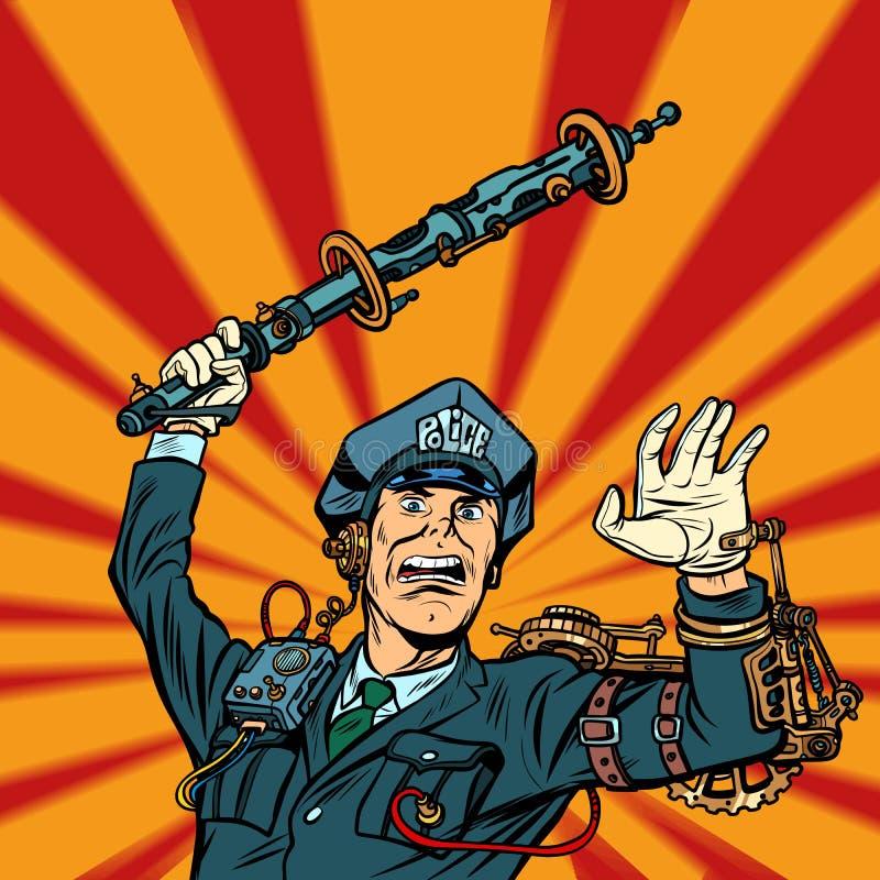 Violencia de la policía del Cyberpunk, golpe del oficial del POLI un bastón ilustración del vector