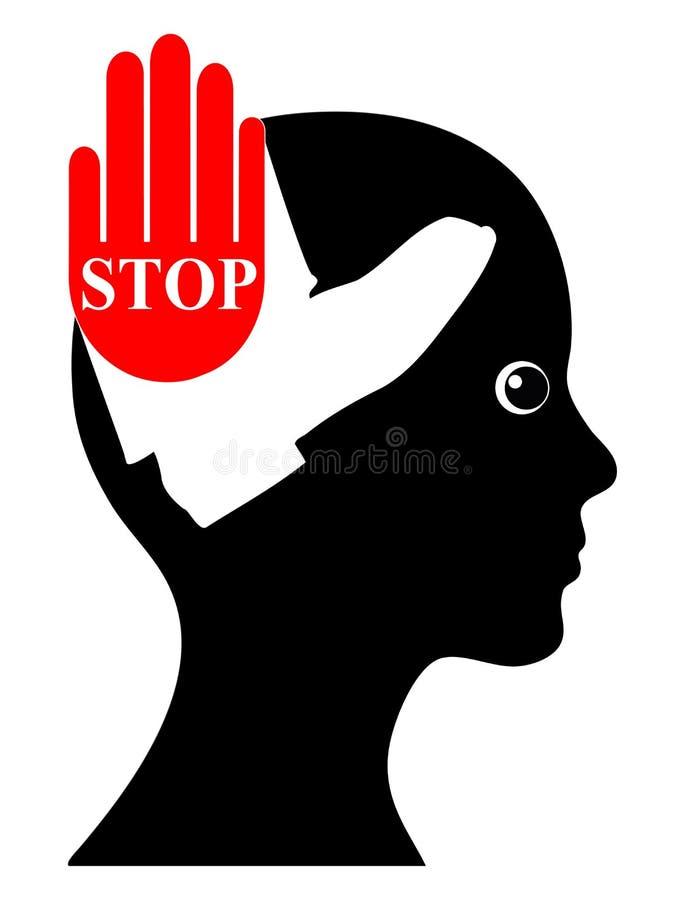 Violencia de la prohibición contra mujeres stock de ilustración