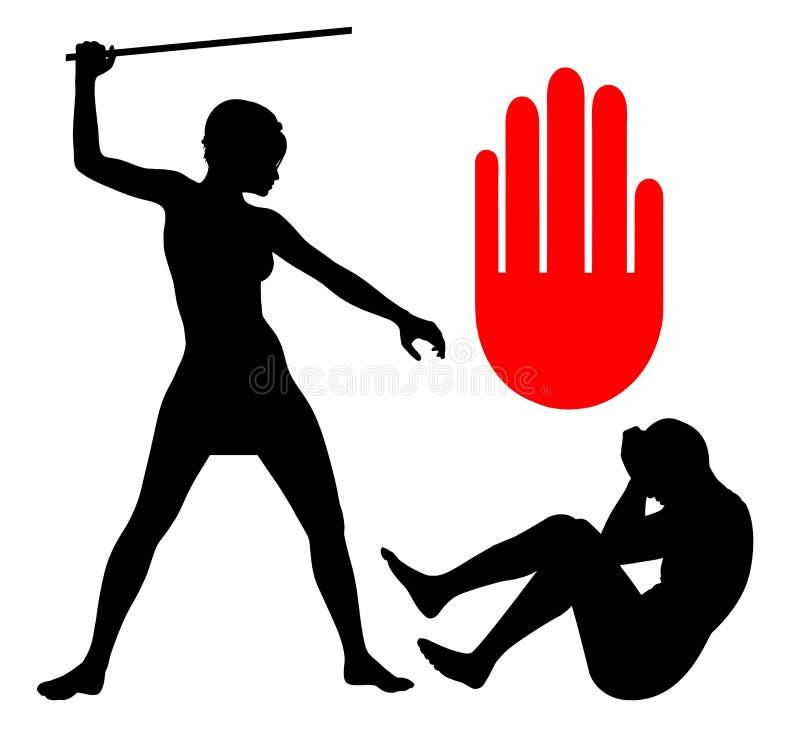 Violencia en el hogar contra hombres ilustración del vector