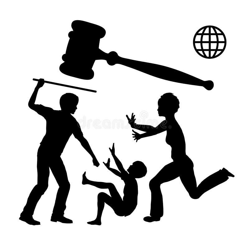 Violencia en el hogar de la prohibición stock de ilustración
