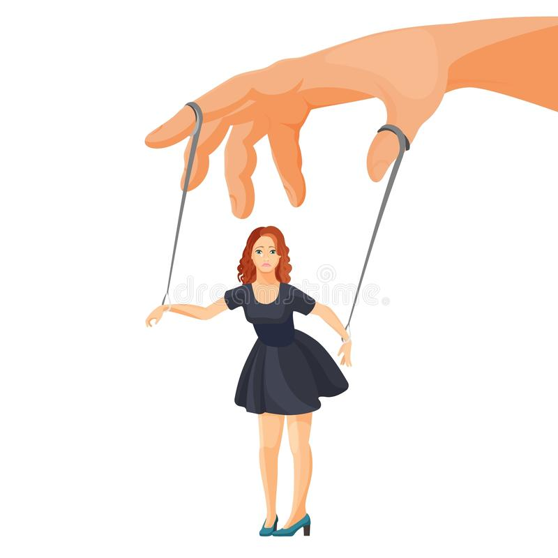 Violencia en el hogar y manipulación sobre el ejemplo metafórico de la mujer stock de ilustración