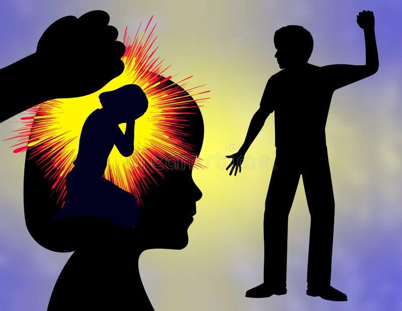 Violencia en el hogar y trauma ilustración del vector