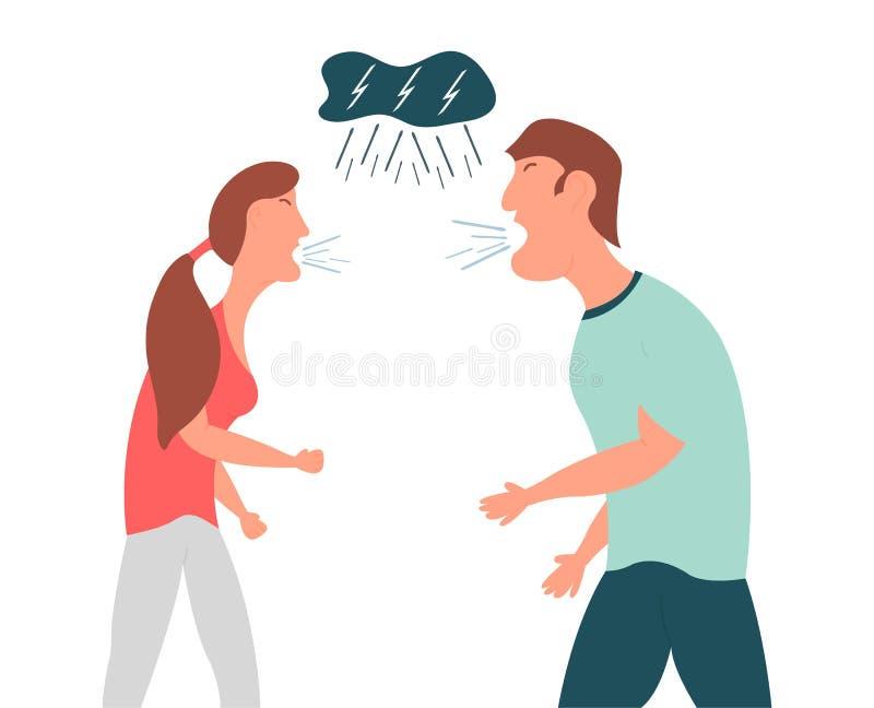 Violencia en familia El individuo y el grito de la muchacha en uno a La esposa y el marido gritan en uno a Ilustración del vector stock de ilustración