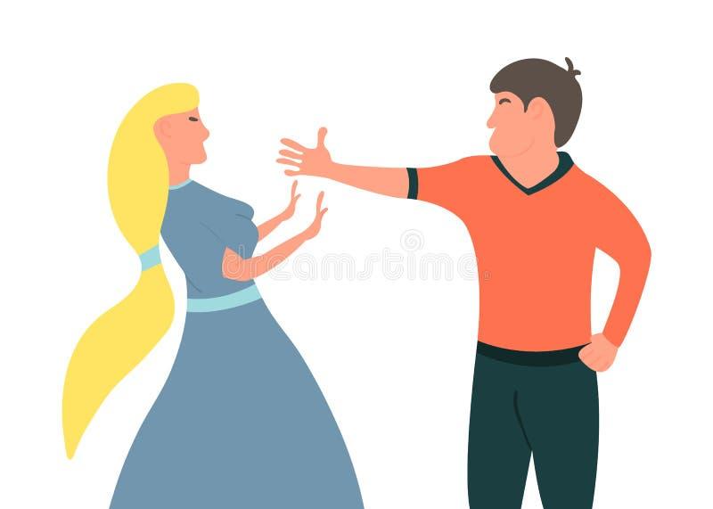 Violencia en familia El marido quiere alcanzar a su esposa El individuo quiere alcanzar a su muchacha Ilustración del vector stock de ilustración
